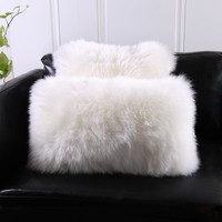 Natural Australian Sheepskin Cover fur Pillow back cushion with core 30*50cm 40*40cm square decoration lamb sheep fur pillows