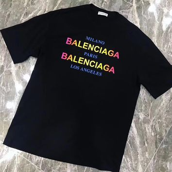 """Balenciaga"" Women Casual Fashion Multicolor Gradient Color Letter Logo Print Short Sleeve T-shirt Tops"