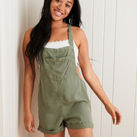 Aerie Chambray Overall Shorts , Olive Fun