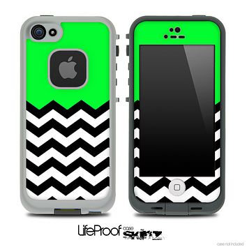Lime Green Black and White Chevron Pattern V3 Skin for the iPhone 5 or 4/4s LifeProof Case