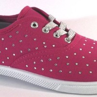 Womens Canvas Shoes Lace up Sneakers W/Rhinestones & Silver Lurex Lace 5 Colors