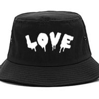 Kings Of NY Love Goth Blood Font Hate Bucket Hat Cap
