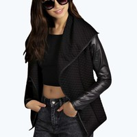 Dora Waterfall Quilted Pu Coated Sleeves Jacket