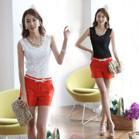 Hot Sale New Womens Fashion Wild Knitted Lace Patchwork Crew Neck Sleeveless Tees Basic Tank Top Black White 2 Colors Size S-XXL J5921 = 1706405508