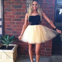 Tulle Black Homecoming Dress, Strapless Dress for Homecoming