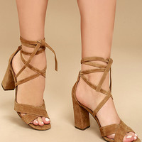 Report Mara Tan Suede Leather Lace-Up Heels