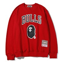 BAPE x NBA new tide brand sports and leisure round neck long-sleeved sweater Red