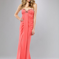 Coral Ruched Chiffon Beaded Sweetheart Empire Waist Prom Dress - Unique Vintage - Cocktail, Evening  Pinup Dresses