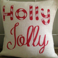 Burlap Pillow-  Holly Jolly, Candy Cane, Christmas/Holiday decor, Christmas pillow