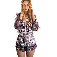 Summer Vintage Women Sexy Deep V-neck Floral Print Playsuit Retro Long Sleeve Party Jumpsuit Romper Trousers Beach Shorts