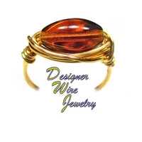 DWJ0582 Lovely Smoky Ruby Ember Czech Art Glass Gold Wire Wrap Ring All Sizes