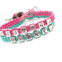 Name Couples bracelets Personalized Couples Jewelry One heart bead per bracelet