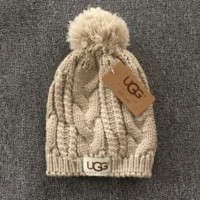 Beige Winter Trendy Warm Soft Knit Hat