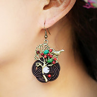 Handmade Tree Of Life & Bird Tribal Earrings