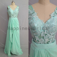 Mint v-neck chiffon prom dress with applique,prom dress,mint chiffon prom dress,long evening dress,real formal dress .hot sales dress