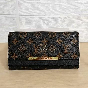 Louis Vuitton LV Hot Sale Fashion Vintage Ladies Clutch Bag Long Wallet Cosmetic Bag
