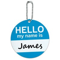James Hello My Name Is Round ID Card Luggage Tag