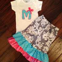 NEW Birthday Outfit Gray Damask Pink Aqua Ruffle Pants Applique Toddler Party Special Event Gorgeous NB 3m 6m 9m 12m 18m 2T 3T 4T