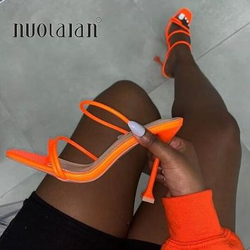 Summer Pumps Sexy Thin Square Toe Mule High Heels