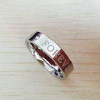 Letter engagement alliance 316L stainless steel  Lovers,  promise HAPPY FOREVER Couple Rings For men and women USA 6-14