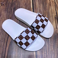 LV simple men and women checkerboard casual beach sandals shoes
