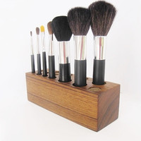 Makeup Brush Storage Organizer Teak Wood