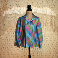 Long Sleeve Silk Blouse Dressy Plaid Blouse French Cuffs Blue Pink Jewel Tones Iridescent Shiny Top Jones New York Large XL Womens Clothing