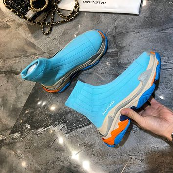 Balenciaga BB 2021 NEW Men's And Women's BLUE Flyknit Speed Air Cushion Sneakers Shoes Short Ankle Sock Boots