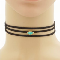 Turquoise Suede Layered Choker Necklace