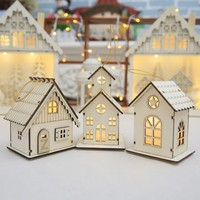 Christmas Decorations For Home Led Luminous Wood Cabins Pendant Christmas Table Ornaments Holiday Gift Wedding Party Decoration