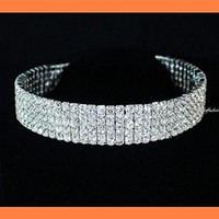 janefashions 5-row Clear Austrian Rhinestone Crystal Choker Necklace Party Wedding Prom N060 Silver