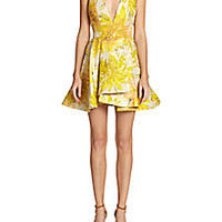 Alice + Olivia - Tanner Draped-Skirt Floral Jacquard Racerback Dress - Saks Fifth Avenue Mobile