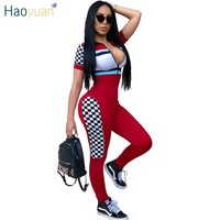 HAOYUAN Checkerboard Rompers Womens Jumpsuit Streetwear Casual Full Bodysuit Zip UP Short Sleeve Overalls Sexy Bodycon Jumpsuit
