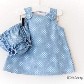 Baby Cotton A-Line Pinafore Dress & Bloomers, Nappy Cover - Blue Tiny Spot Cotton - handmade baby clothes, baby gift