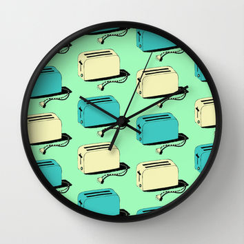 Toasters (mint & cream) Wall Clock by The Wallpaper Files | Society6