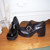 70's Style Black Chunky Heel Loafers Pleather with Buckle