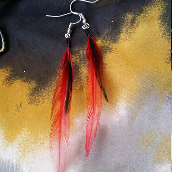 Red and Black Feather Earrings