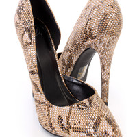 Tan Single Sole D-Orsay Pump Heels Snake Print Fabric