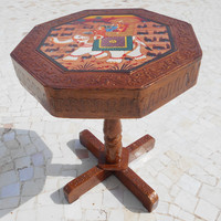 Indian Antique Ethnic Art,Miniature style Handmade Wooden Folding Coffee Table. Hand painted,Handcrafted Coffee Table