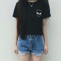 Tumblr Cropped Tops Scoop Neck Casual T-Shirt Short Sleeve
