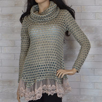 RYU Cowl Neck Knit Sweater Lace Tunic Top -Jade/Beige