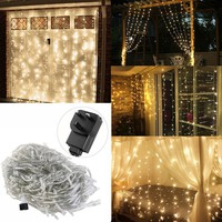 YUNLIGHTS 3 x 3M LED Curtain Lights Linkable Curtain String Lights for Christmas Halloween Wedding Party Home Garden Bedroom Outdoor Indoor Decorations with UK Plug (Warm White Light)