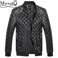 Mwxsd brand men argyle plaid Leather Jacket Autumn winter men's casual soft PU faux leather Jacket Male Motorcycle zipper Jacket