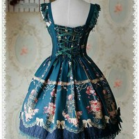 Dark Green Open Front Version Love Canary Infanta Lolita Jumper Dress