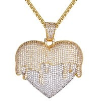 Mens Dripping Layer Heart Shape Custom Bling Pendant