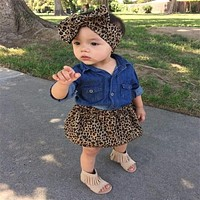 2017 Toddler Kids Baby Girls Clothes long sleeve turn-down collar Button Tops Leopard skirts Bowknot Headband 3PC cotton set