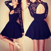 Black Lace Long Sleeve Cut Out Mini Dress