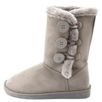 Three Button Faux Fur-Lined Mid-Calf Boots by Charlotte Russe