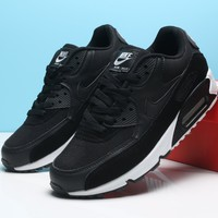 NIKE AIR MAX 90 Trending Snake Skin Texture Black White Women Men Sneakers Shoes