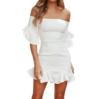 Off Shouder Mini Dress Evening Party Beach Dress Sundress